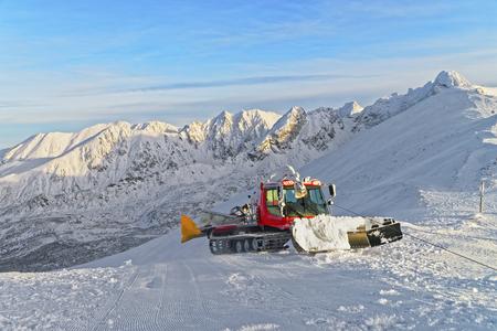 snowcat: Ratrack at work on Kasprowy Wierch of Zakopane in winter. Zakopane is a town in Poland in Tatra Mountains.Kasprowy Wierch is a mountain in Zakopane and the most popular ski area in Poland