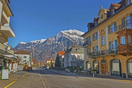 st gallen: Street view of the Alps. Bad Ragaz is a city in canton St. Gallen in Switzerland.  It lies over Graubunden Alps. Spa and recreation village is at end of Tamina valley Stock Photo