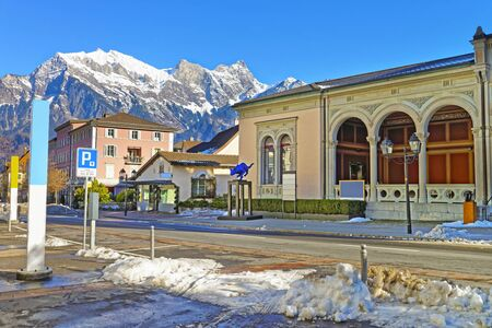st gallen: BAD RAGAZ, SWITZERLAND - JANUARY 5, 2015: Spa house with Cat statue and Mountain. Bad Ragaz is a city in St. Gallen in Switzerland, over Graubunden Alps. Spa and recreation village is at Tamina valley Editorial