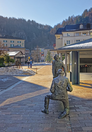 st gallen: BAD RAGAZ, SWITZERLAND - JANUARY 5, 2015: People bronze monument. Bad Ragaz is a city in the St. Gallen in Switzerland, over the Graubunden Alps. The Spa and recreation is at the Tamina valley Editorial