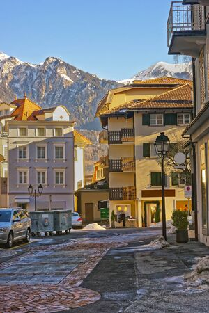 st gallen: Street view of the Alps in the City of Bad Ragaz. Bad Ragaz is a city in canton St. Gallen in Switzerland.  It lies over Graubunden Alps. Spa and recreation village is at end of Tamina valley Stock Photo