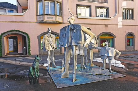st gallen: BAD RAGAZ, SWITZERLAND - JANUARY 5, 2015: People monument in Bad Ragaz. Bad Ragaz is a city in the St. Gallen in Switzerland, over the Graubunden Alps. The Spa and recreation is at the Tamina valley