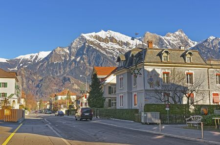 st gallen: Street view in the Town of Bad Ragaz. Bad Ragaz is a city in canton St. Gallen in Switzerland.  It lies over Graubunden Alps. Spa and recreation village is at end of Tamina valley