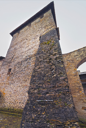 VEYTAUX, SWITZERLAND - JANUARY 2, 2015: Tower in Inner Court of the Chillon Castle in Switzerland. It is an island castle on Lake Geneva (Lac Leman) in the Vaud, between Montreux and Villeneuve.