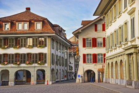 town hall square: Town Hall Square in Old City of Thun at Christmas. Thun is a city in the canton of Bern in Switzerland, where the Aare river flows out of Lake Thun. The Town Hall Square is the historic center of Thun Editorial