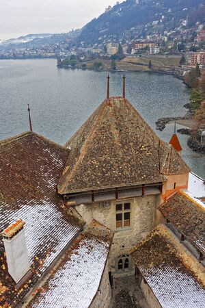 VEYTAUX, SWITZERLAND - JANUARY 2, 2015: View to Montreux city from Chillon Castle. It is an island castle on Lake Geneva (Lac Leman) in the Vaud,between Montreux and Villeneuve.