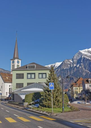 st gallen: Catholic Church in the Old Town of Bad Ragaz. Bad Ragaz is a city in canton St. Gallen in Switzerland.  It lies over Graubunden Alps. Spa and recreation village is at end of Tamina valley Stock Photo
