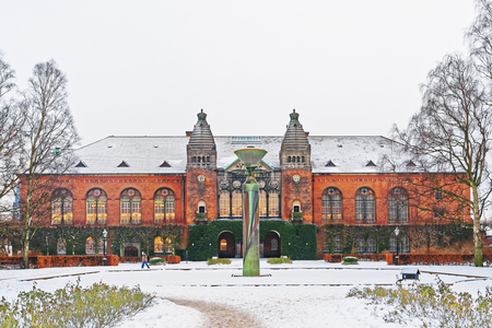 Royal Library in Copenhagen, Denmark in winter. It is the national library of Denmark and university library of the University of Copenhagen. It is the largest library in the Nordic countries. Editorial