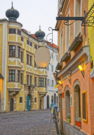 Street view in the Old city in Linz in Austria Stock Photo