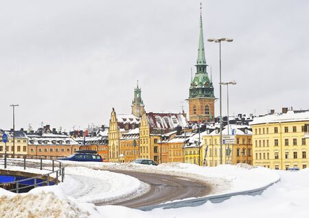 Church of Saint Clare and winter Norrmalm in Gamla Stan. Norrmalm is city district in Stockholm. Stockholm is the capital of Sweden and the most populous city in the Nordic region. Selective focus Editorial