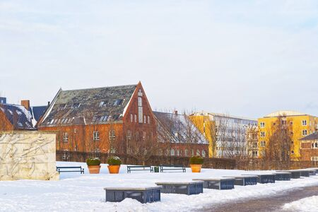 freeport: Houses in Langelinie Park Promenade in winter Copenhagen. Langelinie is a pier, promenade and park in central Copenhagen, Denmark, and home of the statue of The Little Mermaid. Editorial