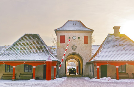 north gate: North Gate at Kastellet in Copenhagen, Denmark in winter. Kastellet is one of the best preserved star fortresses in Northern Europe. It is constructed in the form of a pentagram with bastions