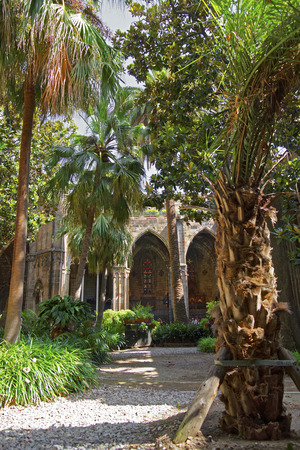 barcelona cathedral: Cloister of Barcelona Cathedral in the Gothic Quarter in Spain. It is also called Santa Eulalia, or Santa Creu Cathedral. Stock Photo