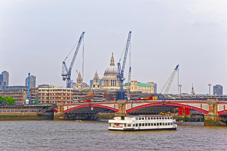 blackfriars bridge: Saint Paul Cathedral and Blackfriars Bridge on Northern Bank of River Thames in London, UK. Saint Paul Cathedral is Anglican church. Blackfriars Bridge is traffic and road bridge over Thames River Stock Photo