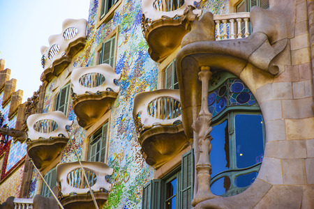 gaudi: BARCELONA, SPAIN - AUGUST 14, 2011: Fragment of Casa Batllo building in Barcelona in Spain. It is also called as House of Bones. It was designed by Antoni Gaudi