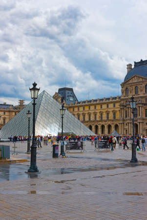 louvre pyramid: PARIS, FRANCE - MAY 4, 2012: Louvre Pyramid near Louvre Palace in Paris in France. Palace of Louvre now is a museum. Louvre Pyramid is a large metal and glass pyramid