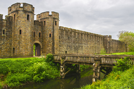 norman castle: Entrance Gate to Cardiff Castle in Cardiff in Wales of the United Kingdom. Cardiff is the capital of Wales.