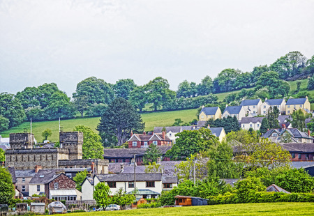 beacons: Village with Old houses in Brecknockshire in Brecon Beacons in South Wales. Brecon Beacons is a chain of mountains in the South of Wales of the United Kingdom.