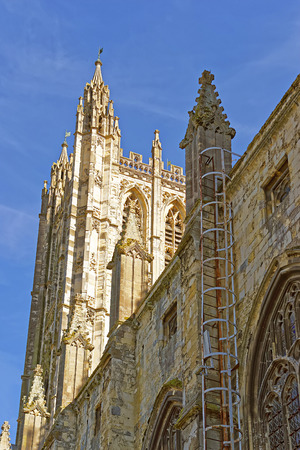 archbishop: Detail of Canterbury Cathedral in Canterbury in Kent of England. It is one of the most famous cathedrals in England. It is the Archbishop of Canterbury Cathedral. Stock Photo