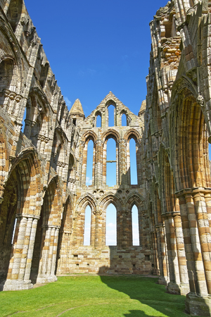 heritage protection: Ruined inner walls to Whitby Abbey in North Yorkshire in England. It is ruins of the Benedictine abbey. Now it is under protection of the English Heritage.
