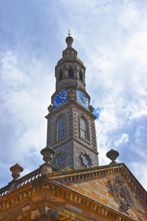 scottish culture: Clock Tower of former St Andrew Church in the Old City of Glasgow in Lowlands in Scotland in the United Kingdom. Now it is called St Andrew in the Square. It is a center for Scottish culture of music. Stock Photo
