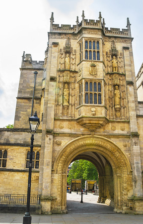 south west england: Great Gatehouse of College Green in Bristol in South West England. It is also called as Abbey Gatehouse. It is an old historic building of 12th century.