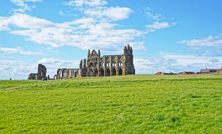 whitby: Whitby Abbey in North Yorkshire in England. It is ruins of the Benedictine abbey. Now it is under protection of the English Heritage.