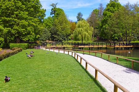 kent: Path in the park at Leeds Castle in Kent in England. Stock Photo