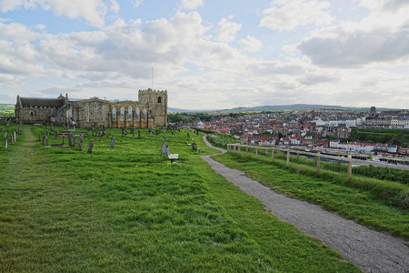 heritage protection: Whitby Abbey Church and Cemetery in North Yorkshire in England. It is ruins of the Benedictine abbey. Now it is under protection of the English Heritage.