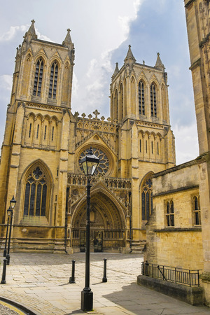 south west england: West front of Bristol Cathedral in Bristol in South West of England. It is fully called as Cathedral Church of the Holy and Undivided Trinity. It was founded in the 12th century.