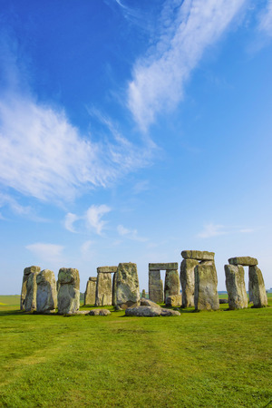 south west england: Stonehenge in Wiltshire in England in cloudy weather. It is a prehistoric monument 8 miles north from Salisbury, in the place called Wiltshire in South West England.