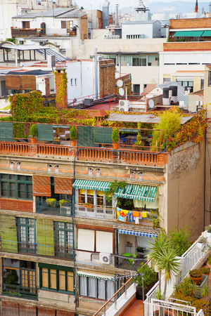 avenues: View to houses in Avinguda Diagonal in Barcelona. Barcelona is the capital of Spain. Avinguda Diagonal is the name of many famous avenues in the center of Barcelona. Stock Photo