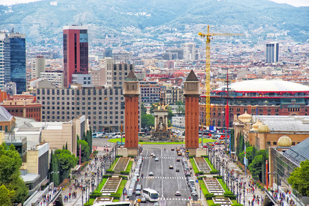 espanya: Venetian towers on Plaza de Espana on Montjuic in Barcelona in Spain. Placa Espanya is one of the most important and well-known squares in Barcelona. It is placed at the foot of Montjuic mountain.