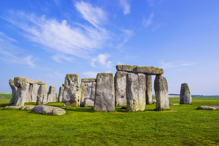 south west england: Stonehenge in Wiltshire of England in cloudy weather. It is a prehistoric monument 8 miles north from Salisbury, in the place called Wiltshire in South West England. Stock Photo