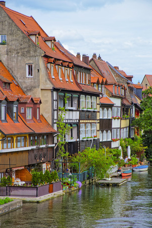 bayern old town: View on fisherman houses in Little Venice in Bamberg in Germany. It is a set of fisherman houses along river Regnitz. Stock Photo