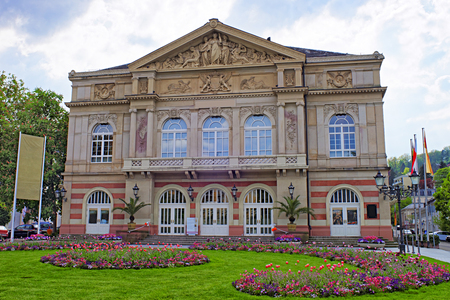 belle: Street view to Baden-Baden Theater. Baden-Baden is a spa town. It is situated in Baden-Wurttemberg in Germany. Theater is a Belle Epoch exterior