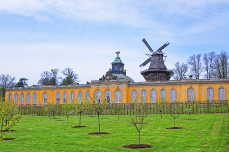 frederick: Park and  wind mill in Sanssouci Park in Potsdam in Germany. It used to be a summer palace of King of Prussia Frederick the Great. Editorial
