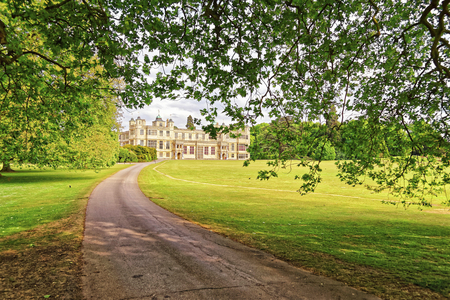 heritage protection: Path to Audley End House in Essex in England. It is a medieval county house. Now it is under protection of the English Heritage.