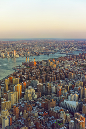 ocean state: View from Empire state building on East Village in Downtown Manhattan, New York, USA, Williamsburg Bridge, Williamsburg, Brooklyn. East River and Atlantic Ocean on the background.