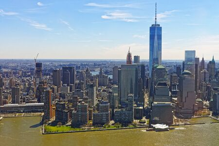 hudson: Helicopter view of Lower Manhattan in New York, USA from Hudson River.