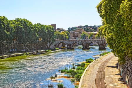 pons: Ponte Sant Angelo Bridge over Tiber River. The bridge is also called as the Bridge of Hadrian, or the Aelian Bridge; or Pons Aelius.