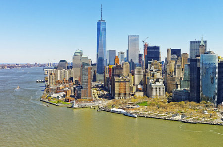 Helicopter view on Lower Manhattan in New York, USA from Hudson River.