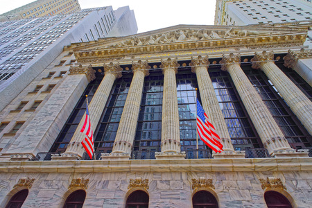 nyse: NEW YORK, USA - APRIL 24, 2015: New York Stock Exchange on Wall Street in Lower Manhattan, USA. It is called NYSE in short.