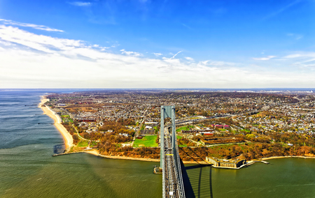 staten: Aerial view of Verrazano-Narrows Bridge over the Narrows. It connects Brooklyn and Staten Island.