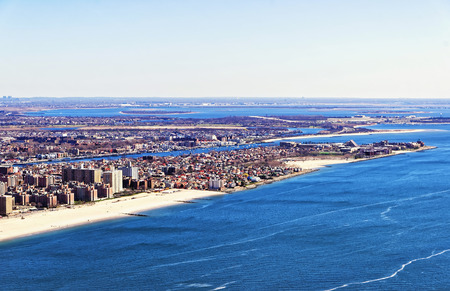 Aerial view from helicopter of Long Island in New York, USA. It is the westernmost residential and commercial neighborhood of the New York City borough of Queens Stock Photo