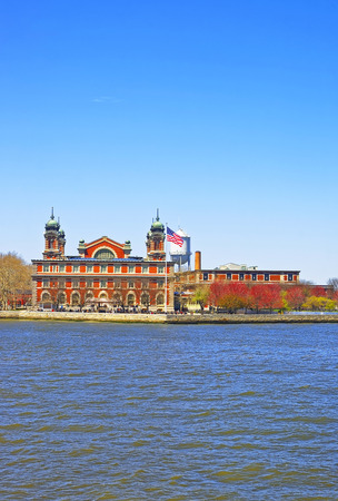 immigrant: Immigration station in Ellis Island, USA, in Upper New York Bay. It was a gateway for immigrants who came to immigrant inspection. Editorial