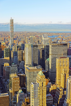 skylines: Aerial view on Skylines with skyscrapers in Midtown Manhattan in New York, USA.