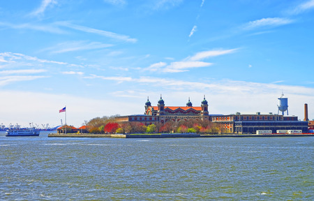immigrant: Immigrants inspection in Ellis Island, USA, and ship in Upper New York Bay. It was a gateway for immigrants who came to immigrant inspection.