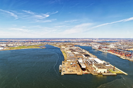 drydock: Bayonne, USA - April 25, 2015: Aerial view of Bayonne Dry Dock and Repair in Bayonne, New Jersey, USA. Global container terminal on the right.