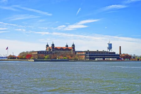 immigrant: Ellis Island, USA, in Upper New York Bay. It was a gateway for immigrants who came to immigrant inspection.